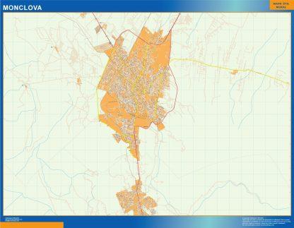 Mapa Monclova en Mexico enmarcado plastificado