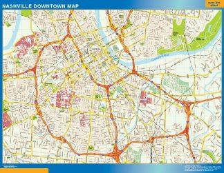 Mapa Nashville downtown enmarcado plastificado