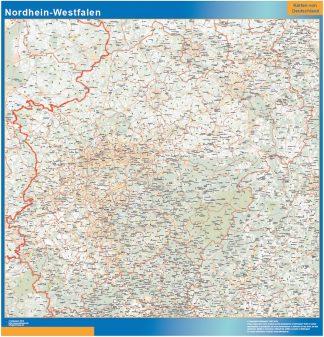 Mapa Nordrhein-Westfalen enmarcado plastificado