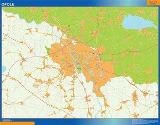 Mapa Opole Polonia enmarcado plastificado