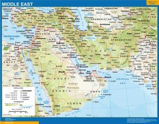 Mapa Oriente Medio enmarcado plastificado