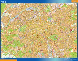 Mapa Paris en Francia enmarcado plastificado