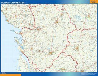Mapa Poitou Charentes en Francia enmarcado plastificado