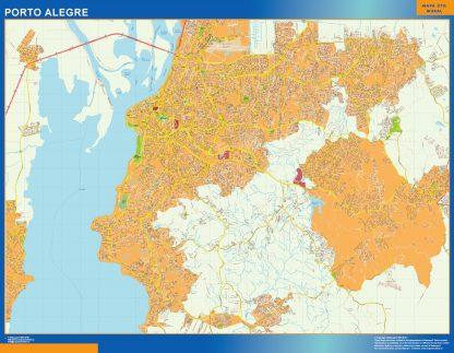 Mapa Porto Alegre Brasil enmarcado plastificado