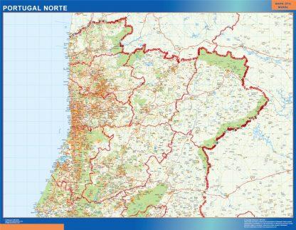 Mapa Portugal norte carreteras enmarcado plastificado