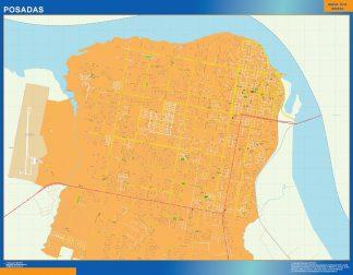 Mapa Posadas en Argentina enmarcado plastificado