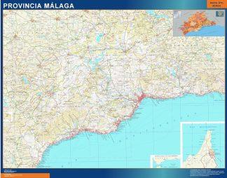Mapa Provincia Malaga enmarcado plastificado
