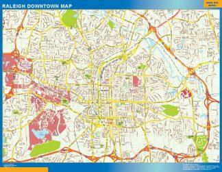 Mapa Raleigh downtown enmarcado plastificado