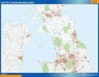 Mapa Reino Unido Midlands carreteras enmarcado plastificado