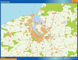 Mapa Rostock en Alemania enmarcado plastificado