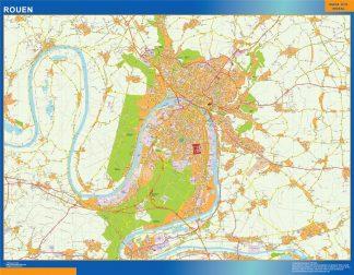 Mapa Rouen en Francia enmarcado plastificado