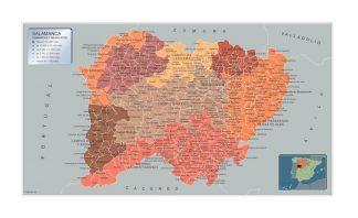 Mapa Salamanca por municipios enmarcado plastificado