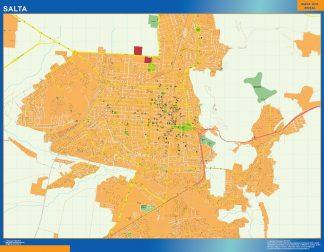 Mapa Salta en Argentina enmarcado plastificado