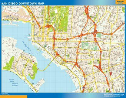 Mapa San Diego downtown enmarcado plastificado
