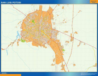 Mapa San Luis Potosi en Mexico enmarcado plastificado