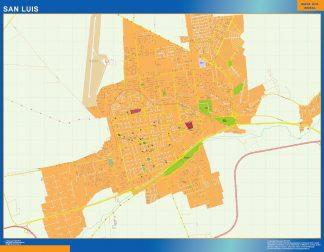 Mapa San Luis en Argentina enmarcado plastificado