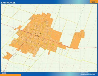 Mapa San Rafael en Argentina enmarcado plastificado