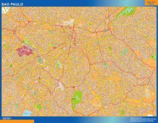 Mapa Sao Paulo Brasil enmarcado plastificado