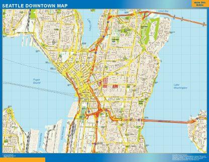 Mapa Seattle downtown enmarcado plastificado