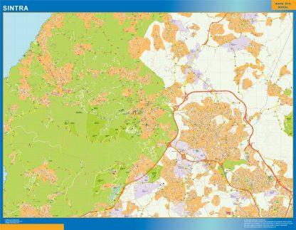 Mapa Sintra en Portugal enmarcado plastificado