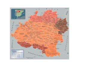 Mapa Soria por municipios enmarcado plastificado