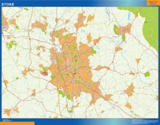 Mapa Stoke enmarcado plastificado