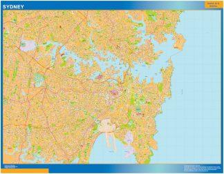 Mapa Sydney Australia enmarcado plastificado