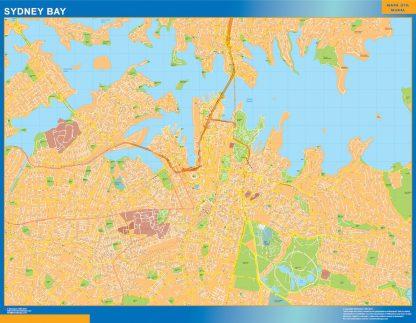 Mapa Sydney Bay Australia enmarcado plastificado