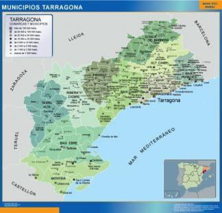 Mapa Tarragona por municipios enmarcado plastificado