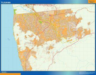 Mapa Tijuana en Mexico enmarcado plastificado