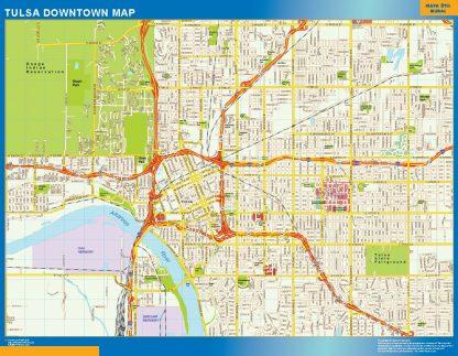 Mapa Tulsa downtown enmarcado plastificado