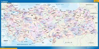 Mapa Turquia enmarcado plastificado