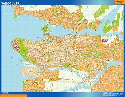 Mapa Vancouver en Canada enmarcado plastificado