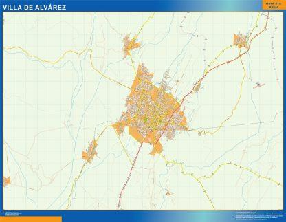 Mapa Villa De Alvarez en Mexico enmarcado plastificado