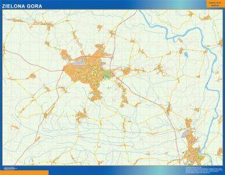 Mapa Zielona Gora Polonia enmarcado plastificado