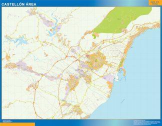 Mapa carreteras Castellon Area enmarcado plastificado