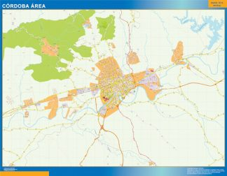 Mapa carreteras Cordoba Area enmarcado plastificado