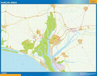 Mapa carreteras Huelva Area enmarcado plastificado