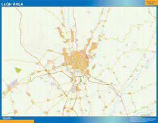 Mapa carreteras Leon Area enmarcado plastificado