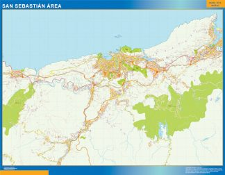 Mapa carreteras San Sebastian Area enmarcado plastificado