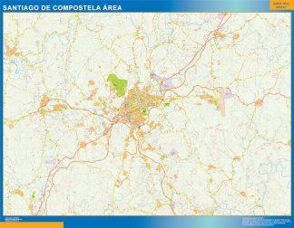 Mapa carreteras Santiago Compostela Area enmarcado plastificado