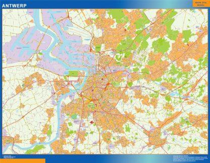 Mapa de Amberes en Bélgica enmarcado plastificado