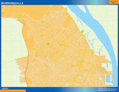 Mapa de Barranquilla en Colombia enmarcado plastificado