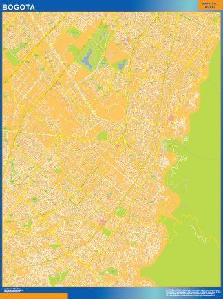 Mapa de Bogota Centro en Colombia enmarcado plastificado