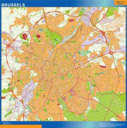 Mapa de Bruselas en Bélgica enmarcado plastificado