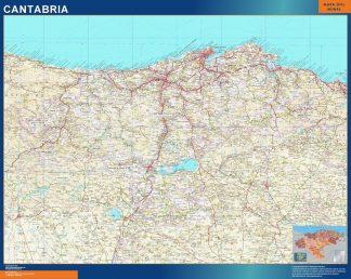 Mapa de Cantabria enmarcado plastificado