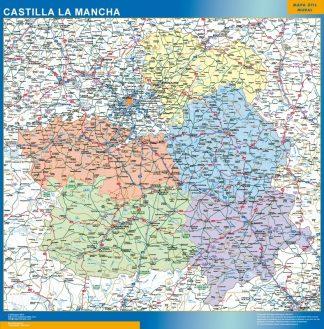 Mapa de Castilla La Mancha enmarcado plastificado
