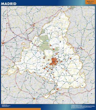 Mapa de Comunidad Madrid enmarcado plastificado