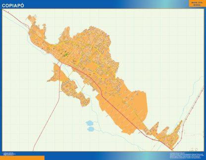 Mapa de Copiapo en Chile enmarcado plastificado