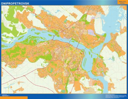 Mapa de Dnipropetrovsk en Ucrania enmarcado plastificado